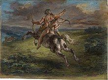 L'éducation d'Achille Eugène Delacroix 1862, Vers 1862, le peintre Eugène Delacroix réalise un pastel intitulé L'Éducation d'Achille montrant le centaure Chiron en train de galoper et de tirer à l'arc dans un paysage de collines, pendant que le jeune Achille, assis sur son dos, tire lui aussi à l'arc en suivant son exemple. Le pastel est conservé au Getty Center, dans le J. Paul Getty Museum, à Los Angeles, aux États-Unis.